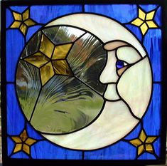 Man in the Moon Stained Glass Window - Modern Modern Stained Glass, Stained Glass Quilt, Stained Glass Light, Stained Glass Birds, Stained Glass Crafts, Stained Glass Designs, Stained Glass Panels, Modern Glass, Mosaic Art