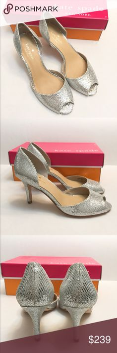 NIB Kate Spade glitter open toe heels/shoes SZ 7 Brand new in box! No dust bag. Store display. May have tried on. See the pics for soles. Beautiful shoes!!!! Nordstrom sells these but without any discount. Size 7. Made in Italy. Retail: $298+tax.    ❌no trade ❌no lowballing offers!!! kate spade Shoes