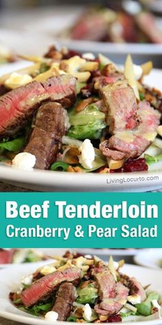 Beef Tenderloin Salad Recipe. A delicious savory and sweet cranberry and pear healthy recipe topped with homemade honey mustard dressing. Perfect for lunch or dinner! #salad #steak #beef #lowcarb #healthy #recipes #dinner Best Salad Recipes, Entree Recipes, Lunch Recipes, Beef Recipes, Dinner Recipes, Healthy Recipes, Party Recipes, Game Recipes, Healthy Salads