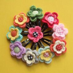 Crocheted flower hair pin by Jaravee, via Flickr