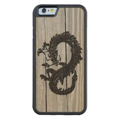 Oriental black Dragon with wood background printed on real #Wood Case.  #iPhone6 case.
