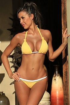 Bring sexy back in this sunshine yellow braided bikini!  You will be hotter than the sun once you slip into this body loving suit.  Simple yet totally stunning, the detail of the braiding, top knots and scrunch back on this bikini will make you stand out from the rest.