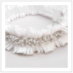 Glitter garter  silvery white beaded bridal garter by woomipyo, $35.00