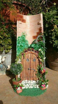 Clay Fairy House, Fairy Garden Houses, Clay Wall Art, Clay Art, Clay Fairies, Tile Crafts, Clay Houses, Ideias Diy, Roof Tiles