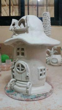 Air dry clay mushroom house