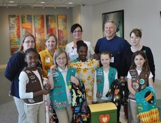 Smiles all around for the children at Nash General Pediatric Emergency Room. Girl Scout Troop #530 made and donated 20 fleece blankets for children that need to take the helicopter to a different facility. The girls also donated a treasure chest full of prizes to give to patients after treatment!  Nice work, Girl Scouts!
