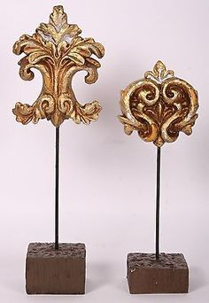 Gold Fleur de lis Distressed Finial on Stand Pair-Last One!