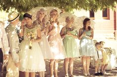 Polka dot bridesmaids dresses!