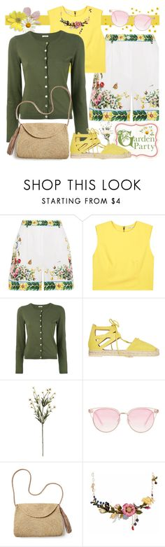 """""""Garden Party"""" by brendariley-1 ❤ liked on Polyvore featuring Dolce&Gabbana, Alice + Olivia, P.A.R.O.S.H., Aquazzura, Le Specs, Mar y Sol and Les Néréides"""