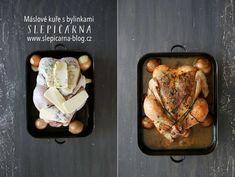 Pečené máslové farmářské kuře s bylinkami Jamie Oliver, Vegetarian Recipes, Pork, Turkey, Food And Drink, Meat, Chicken, Food Ideas, Blog