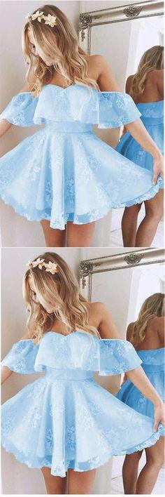 Short A Line Sweetheart Ruffles Shoulder Cute Lace Homecoming Dresses