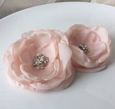 SALE Pink Fabric Flower Brooch or Sash Pin by DinkybirdBoutique