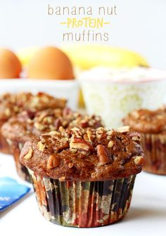 Lovely flavored Banana Nut Protein Muffins that will fill you up for hours and give you the energy to start your day right! These healthy muffins pack a major protein punch and they're loaded with warm flavors of cinnamon, banana and maple syrup. Banana Protein Muffins, Healthy Muffins, Protein Snacks, Healthy Baking, Healthy Desserts, Delicious Desserts, Muffin Recipes, Baking Recipes, Breakfast Recipes