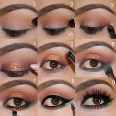 Copper and Green Glitter Eyes Look