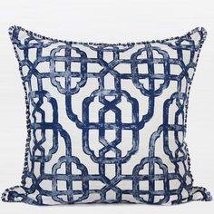 "Blue Classic Geometry Pattern Pillow With Tassels 20""X20"" - Gentille Home Collection - 1"