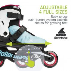 Rollerblade invented and makes the best adjustable inline skates for kids by using Rollerblade performance and fit expertise applied with kids in mind. Microblade Free 3WD G is extra special because it utilizes a lace free upper to make it easier for kids to get the skates on and off. Inline Skates For Kids, Inline Skating, Inventions, How To Apply, Lace, Fitness, Roller Blading, Racing, Keep Fit