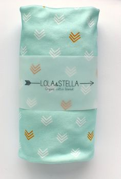 swaddle blanket Organic baby blanket in mint and gold chevrons by LolaandStella