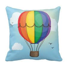 Image result for hot air balloons and clouds cushion
