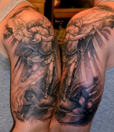 arcangel michael stepping on satan tatoo | Photos of the St Michael Tattoos