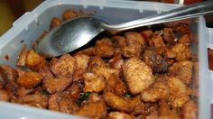 Soya chunks cooked in chilli and spices. It goes well with rice and Indian breads.