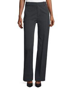 VINCE Wide-Leg Pleated Pants, Dark Gray. #vince #cloth #