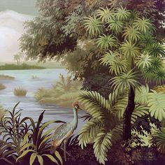 Paysages colorés - Les rivages de l'Ukewéré couleur - L380xH200cm - Ultra mat - 4 lés de 95cm