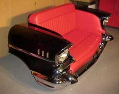 Ahh the elusive front end of a 1957 Chevrolet Bel Air turned into a loveseat. Modern art or man cave?