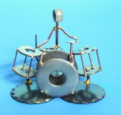 Drum Set Metal Sculpture - great idea for Dad!