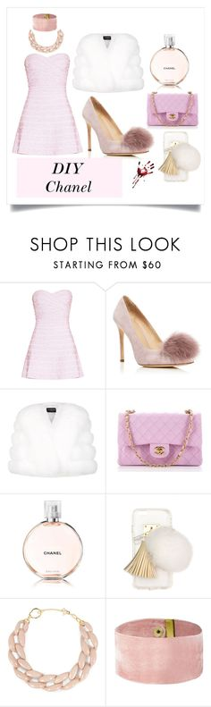 """""""DIY Chanel from Scream Queens"""" by deisyvegaa ❤ liked on Polyvore featuring Hervé Léger, Pour La Victoire, Harrods, Chanel, Ashlyn'd, DIANA BROUSSARD, halloweencostume and DIYHalloween"""