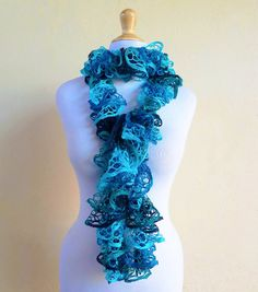 Knit Scarf AQUAMARINE  Ruffled Lace  by OriginalDesignsByAR, $24.95