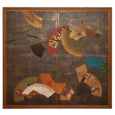 Japanese Two Panel Screen, Painted Fans | From a unique collection of antique and modern paintings and screens at https://www.1stdibs.com/furniture/asian-art-furniture/paintings-screens/