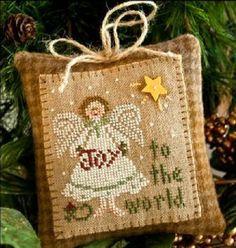 cross stitch pattern : joy to the world little house needleworks Christmas counted cross stitch diy.