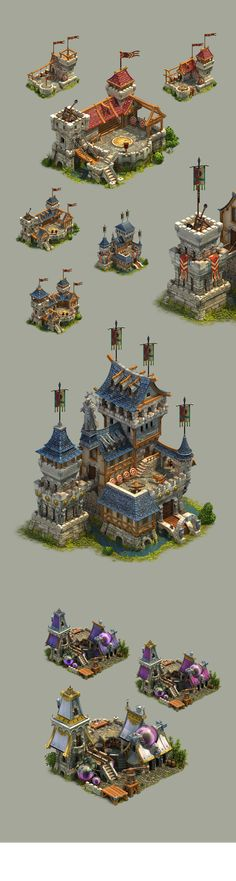 A set of medieval fantasy buildings we did together with Dominik Luedke & Philip Unger a while ago. Fantasy Concept Art, 3d Fantasy, Fantasy House, Game Concept Art, Fantasy Landscape, Medieval Fantasy, Fantasy Artwork, Fantasy Warrior, Dark Fantasy
