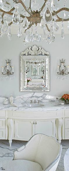 Our Big Fancy Border in Platinum would look great on the sink in this bathroom vanity. www.decoratedbathroom.com