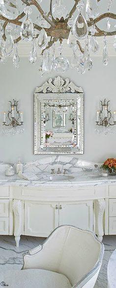 Our Big Fancy Border in Platinum would look great on the sink in this bathroom vanity. www.decoratedbathroom.com
