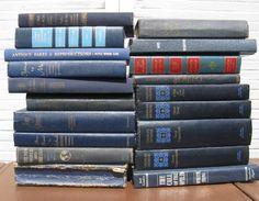 dark blue book stack navy blue books 2 feet by rivertownvintage