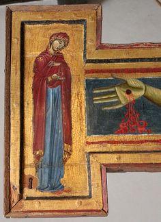 Maestro del Crocifisso di Gualdo Tadino - Crocifisso con la Vergine, Giovanni e San Francesco - 1250-1300 ca.- Museo civico di Gualdo Tadino (Umbria)