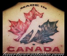 Huge and realistic, high detail maple leaf, veiny leaf, lovely Tattoos For Guys, Cool Tattoos, Tatoos, Awesome Tattoos, Quotes Girlfriend, Canadian Tattoo, Tattoo Designs, Tattoo Ideas, Hanging Art