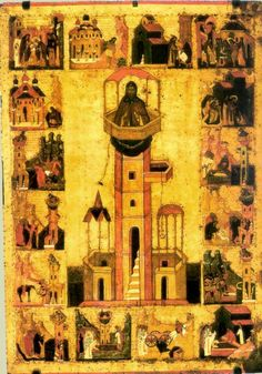 Saint Symeon the Stylite with Scenes from His Life by Russian icon , Russia , century . State Tretyakov Gallery , Moscow , tempera on p.