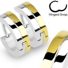 Nebula - Split Colored Gold and Stainless Steel Clear Gloss Finish Hinged Hoop Earrings