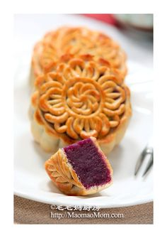 Purple Sweet Potato Mooncake (Recipe in Chinese)