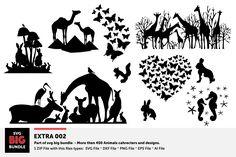 The Big Animal Silhouette Bundle Big Animals, Animal Silhouette, Laser Cut Acrylic, Cricut Creations, Wall Decals, Illustration, Design, Crafts, Diy