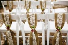 burlap chair sashes | ... Rustic Wedding Decor Hire - Hessian chair sashes, Lace chair sashes
