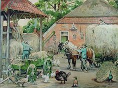 Working at the farm. Holland, Carriage Doors, Vintage School, Painting People, Dutch Artists, Naive Art, Old Farm, Art For Art Sake, Historical Pictures
