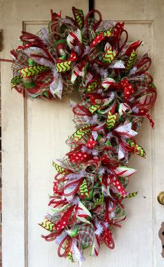 Deco mesh Christmas wreath Candy cane by MrsChristmasWorkshop