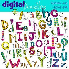 COMBO Alphabet soup digital clipart clip art and black line stamps. $5.60, via Etsy.