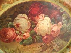 Antique Tray Filled w Roses