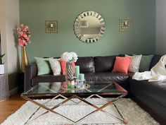 Updated summer living room decor. New coffee table, rug and mirror Sage Living Room, Living Room Decor, Sweet Home, Lounge Ideas, Couch, Mirror, Coffee, Rugs, Table
