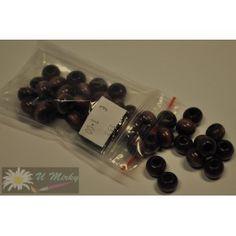 Korálky drevené/priemer 10mm (balenie 15g)- fialové tmavé