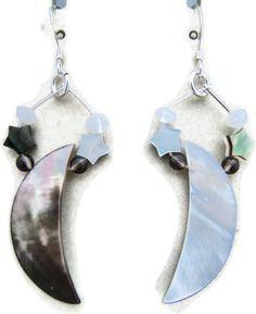 Black Lip Shell Moon & Stars Earrings with Moonstone and Smoky Quartz. $15.00, via Etsy.